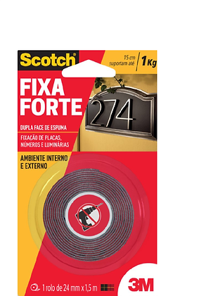 Fita Dupla Face 3M Fixa Forte - Uso Externo - 24mm x 1,5 mts