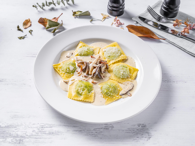 Ravioli Con Funghie Pancetta