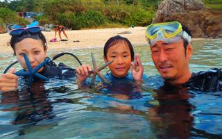 沖縄 青の洞窟 家族旅行 体験ダイビング キッズシュノーケリング