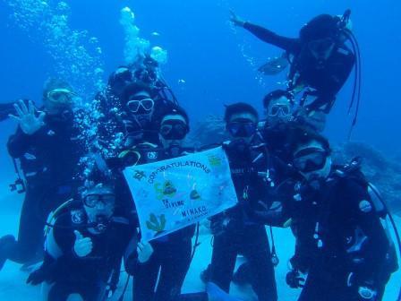 水中集合写真 ダイビング 沖縄