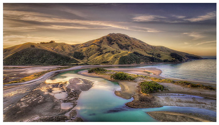 Cable Bay ,Nelson, Peppin Island, Island, Sea, Bay, Blue Water,Evening , Clouds