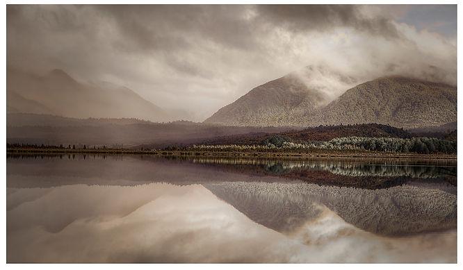 Lake Haupiri_New Zealand_Still Water_ mountains_ Bush hey hey yeah