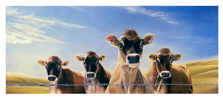 Jersey Cows_ Oil Painting Animals_Cows_Rolling Hils_ Blue Sky.Limited Edition.
