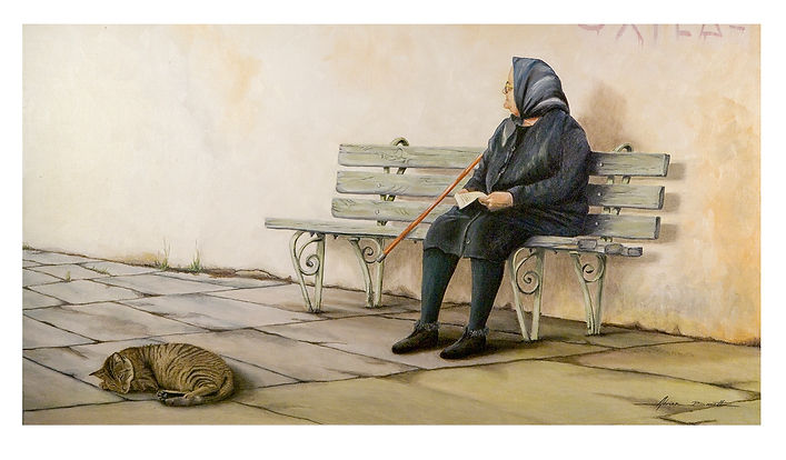Old Greek Lady_Letter_Cat_Bench_Walking Stick_Oil Painting_Greece