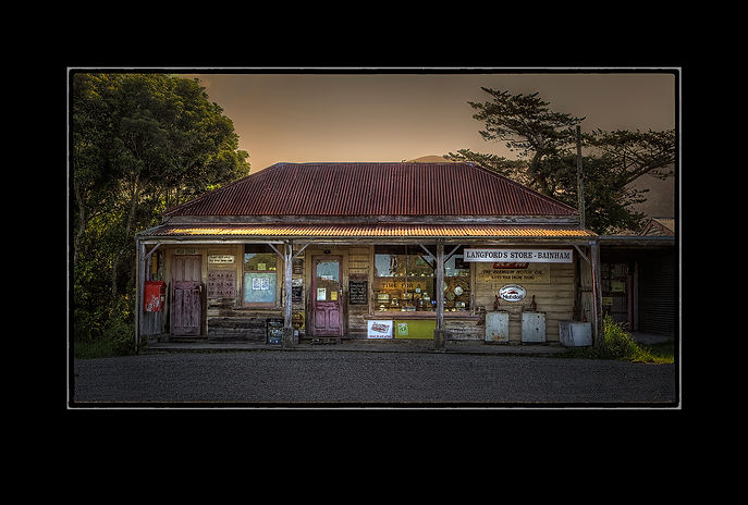 Langfords store_ Bainham_ shop with varanda_ Iron roof_ new Zealand.