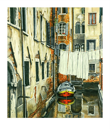 Venice_Canal_Boat_Washing_Old Buildings_Water_Windows_Oil Painting.