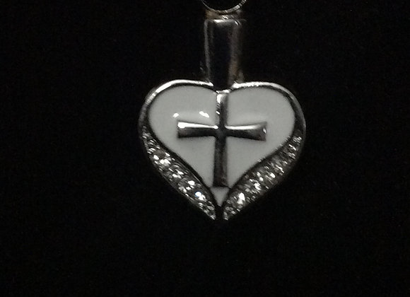 Pearl Heart With Cross Necklace