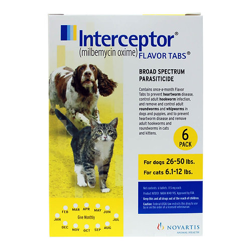Interceptor Rx, 26-50 lbs Dog/6.1-12 lbs Cat, Yellow, 6 count