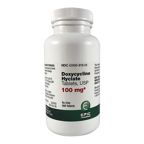 Doxycycline Rx, Tablets, 100 mg x 500 ct