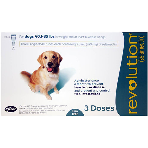 Revolution Rx for Dogs, 40.1-85 lbs, 3 Month (Teal) ORM-d