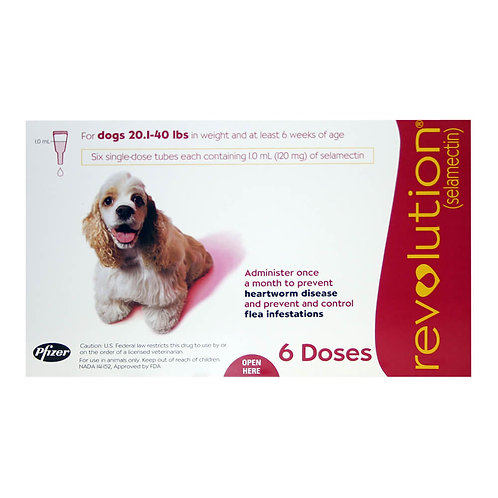 Revolution Rx for Dogs, 20.1-40 lbs, 6 Month (Red) ORM-d