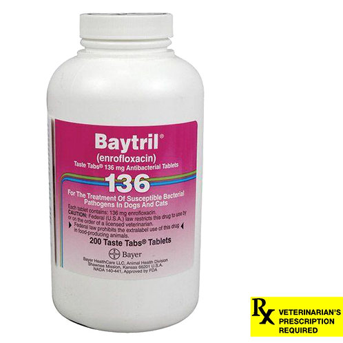 Baytril Rx, Taste Tabs, 136 mg x 200 ct