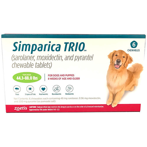 Rx Simparica Trio, Green, 44.1-88lbs, 48Mg x 6 Tab