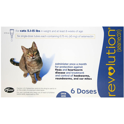 Revolution Rx for Cats, 5.1-15 lbs, 6 Month (Blue)