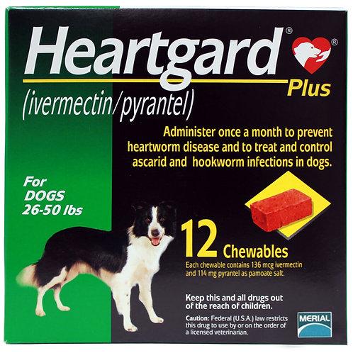 Heartgard Plus Rx, 26-50 lbs, 12 Month (Green)
