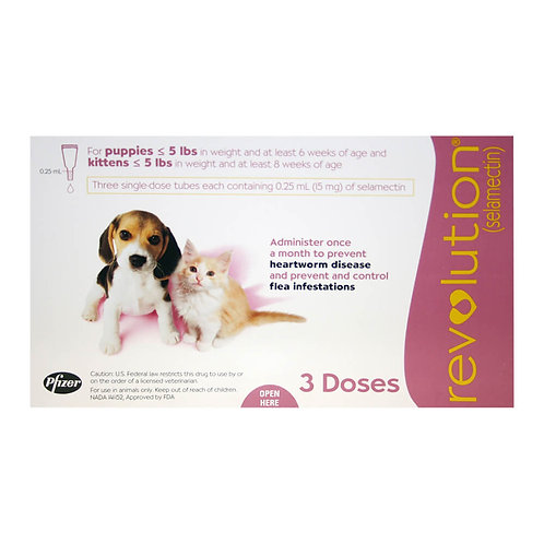 Revolution Rx for Puppies/Kittens, Up to 5 lbs, 3 Month (Mauve)