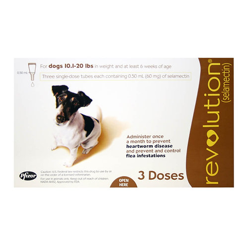 Revolution Rx for Dogs, 10.1-20 lbs, 3 Month (Brown) ORM-d
