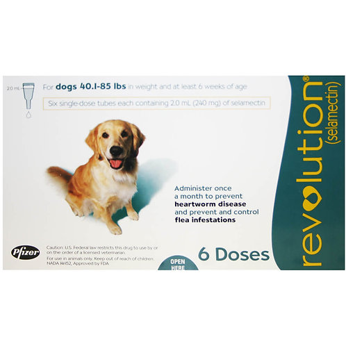 Revolution Rx for Dogs, 40.1-85 lbs, 6 Month (Teal) ORM-d