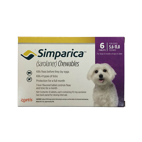 Rx Simparica 10mg for Dogs 5.6-11 lbs, 6 Chewable Tablets