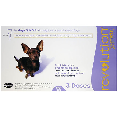 Revolution Rx for Dogs, 5.1-10 lbs, 3 Month (Purple) ORM-d