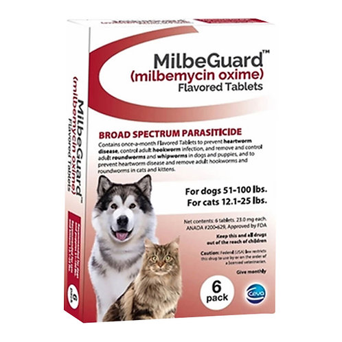 Rx, Milbeguard Dog 51-100lb, Cat 12-25lb, 6pk, Red