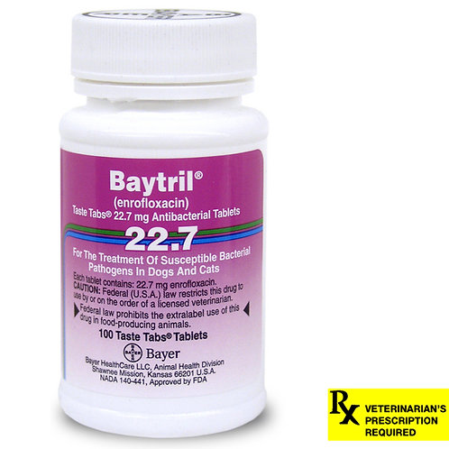 Baytril Rx, Taste Tabs, 22.7 mg x 100 ct