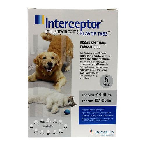 Interceptor Rx, 51-100 lbs Dog/12.1-25 lbs Cat, White, 6 count