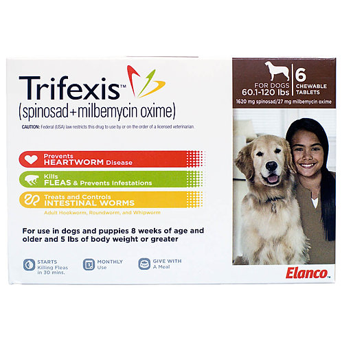 Trifexis Rx, 60.1-120 lbs, 6 month (Brown)