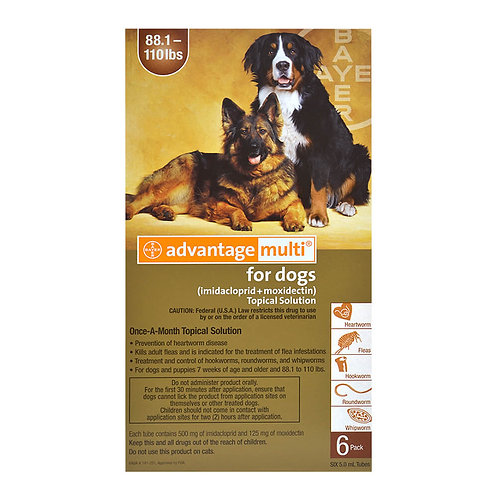 Advantage Multi Rx for Dogs, 88.1-110 lbs (Brown), 6 month
