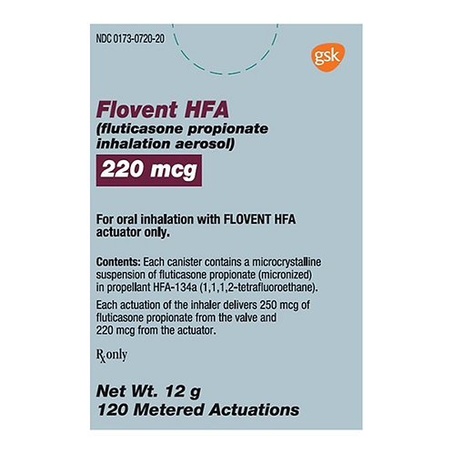 Rx Flovent (Fluticasone) Inhaler 220 mcg 12gm