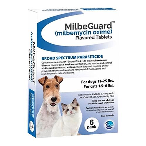 Rx, Milbeguard Dogs 11-25lb, Cat 1.5-6lb, 6pk, Blue
