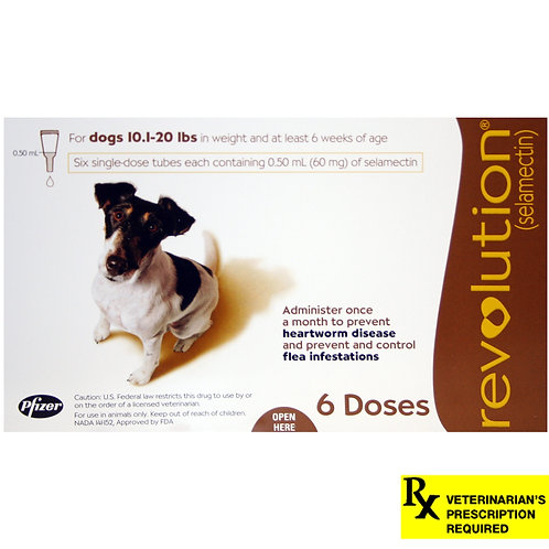 Revolution Rx for Dogs, 10.1-20 lbs, 6 Month (Brown) ORM-d