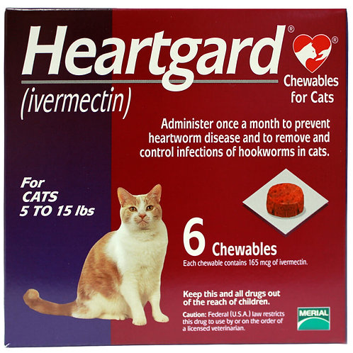 Heartgard Rx for Cats, 5-15 lbs, 6 Month (Purple)