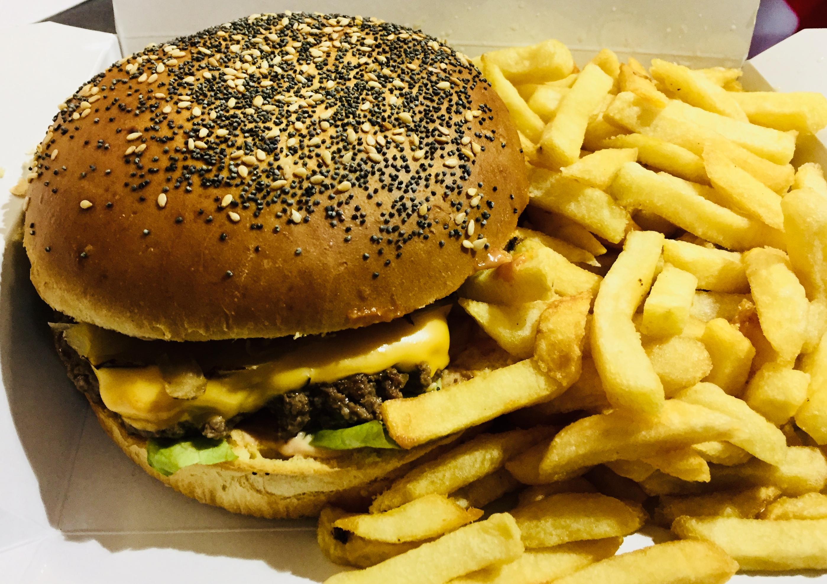 Burger Cheddar et ses frites