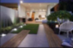 backyard living room boardwalk fountain