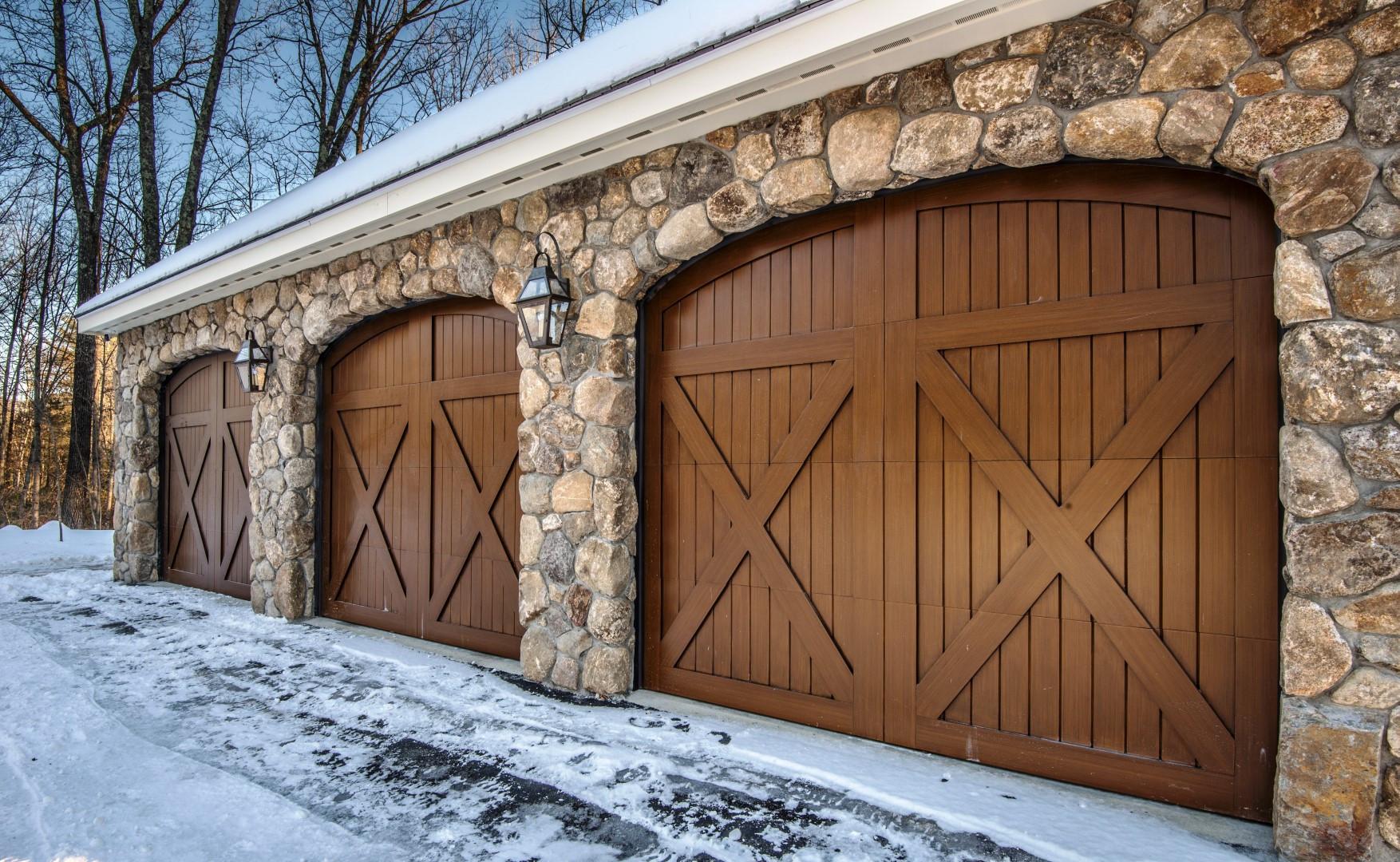 Exterior garage stone work