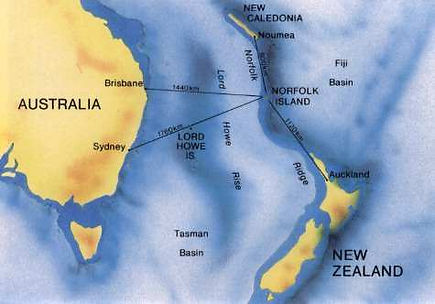 Map of flying distance to Norfolk island