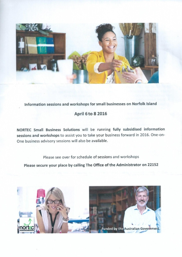 Information sessions and workshops for small businesses on Norfolk Island