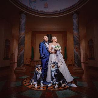 Bride and groom in rotunda