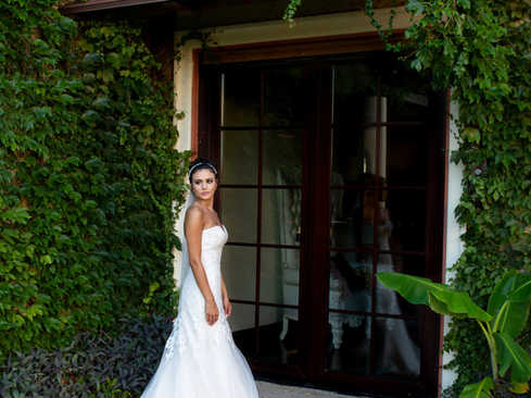 Boston ivy with beautiful bride