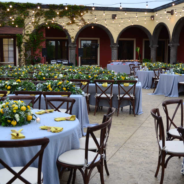 Wedding reception dinner courtyard set up