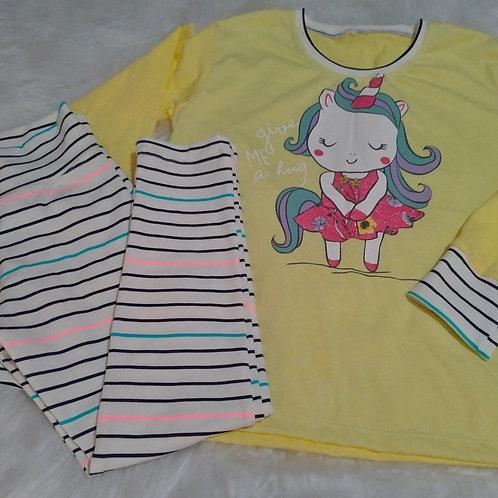 Pijama Unicórnio/Listras (Tamanho 06)
