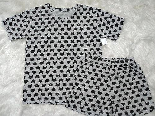 Pijama Gatos/Cinza (Tamanho 10)