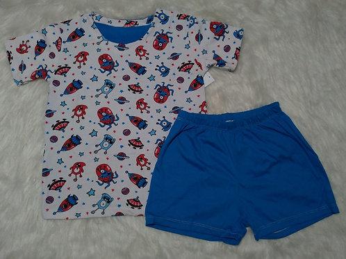 Pijama Espaço/Azul (Tamanho 06)
