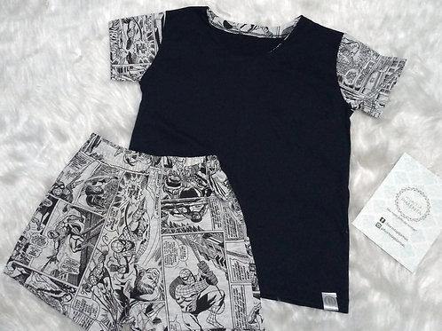 Pijama Quadrinhos/Preto e Branco (Tamanho 06)