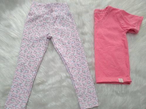 Pijama Gatos/Rosa (Tamanho 04)