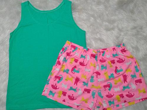 Pijama Verde/Gatos - G