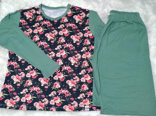 Pijama Rosas/Verde - G