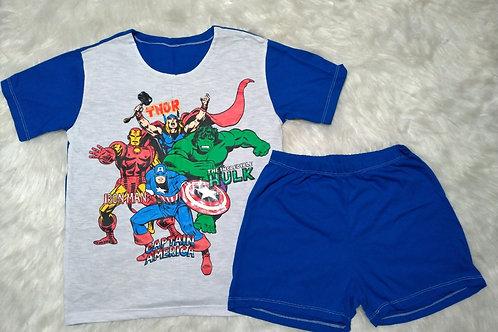 Pijama Heróis/Azul(Tamanho 12)