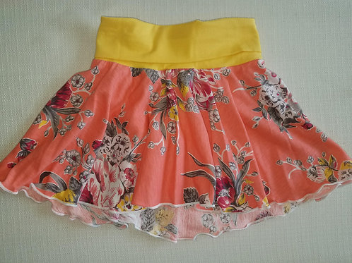 Coral Floral Skirt 3/6 Mo to 18 Mo